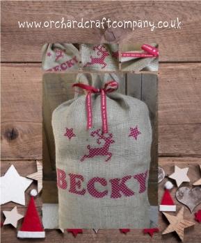 Vintage Style Rustic Personalised Christmas Sack
