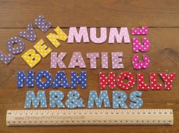 7 Iron On Fabric 3 cm Letters, Numbers.Uppercase Chunky Font, Polka Dot