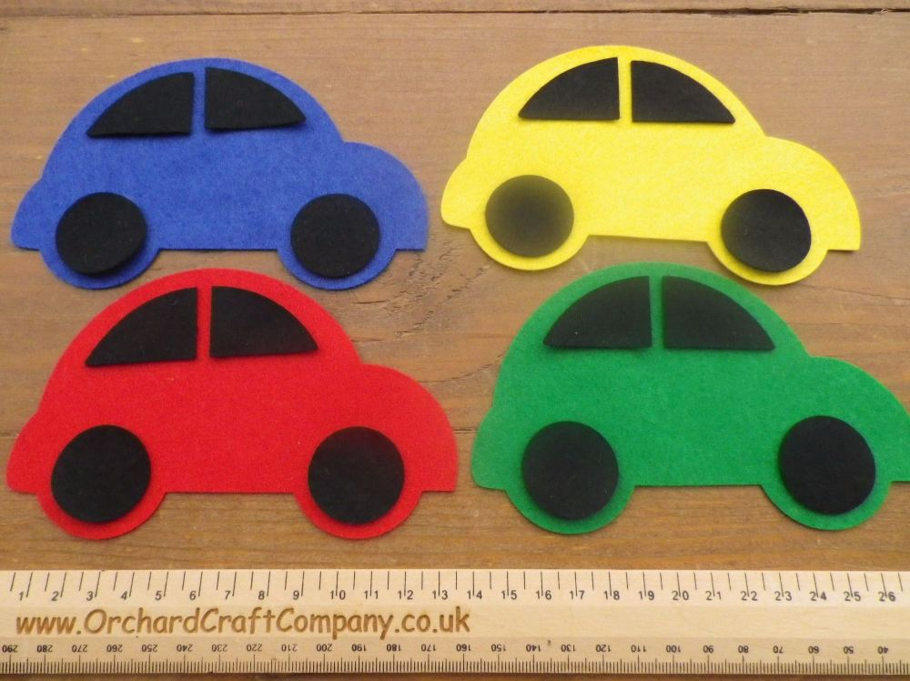 Large Felt Cars X 4 -25 Colours to choose from