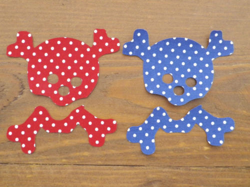 2 Skull & Crossbones. Shabby Chic Floral/Dotty Fabric Iron On Applique