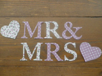 Iron on  Floral/Dotty Fabric MR & MRS Letters (No Sew)