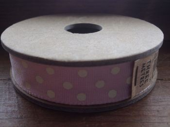 3 Metre East of India Ribbon. Pink With Cream Dots