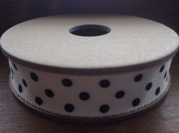3 Metre East of India Ribbon. Cream With Black Dots