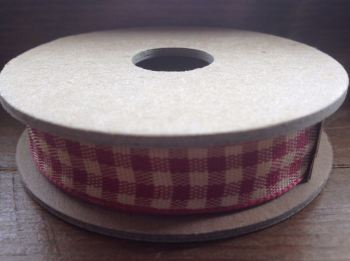 3 Metre East of India Ribbon. Red Gingham Ribbon