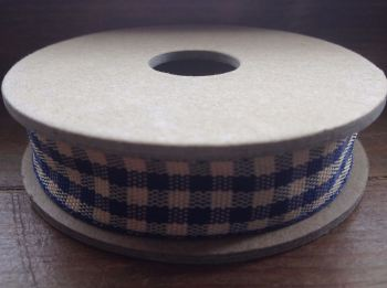 3 Metre East of India Ribbon. Blue Gingham Ribbon