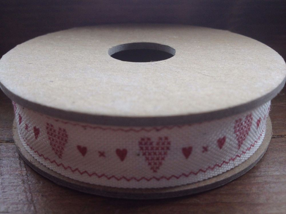 3 Metre East of India Ribbon. Red Hearts