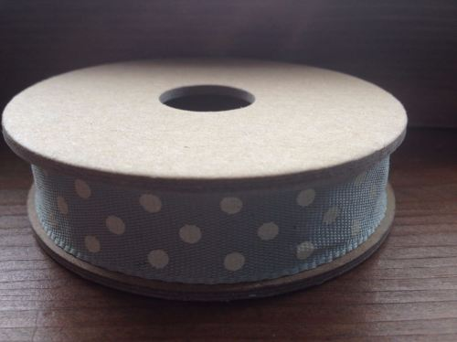 3 Metre East of India Ribbon. Olive Green With Cream Dot