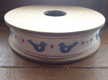 3 Metre East of India Ribbon. blue bird and heart ribbon