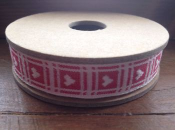 3 Metre East of India Ribbon. Red Gingham With Heart