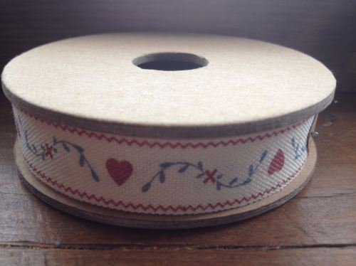 3 Metre East of India Ribbon - Red Hearts and Leaves