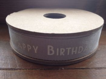 "3 Metre East of India Ribbon. Grey, ""Happy Birthday"""