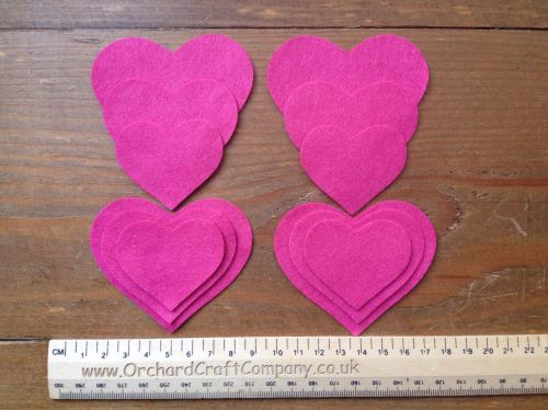 12 HEARTS in Quality Felt for Craft & Sewing in 26 Colours