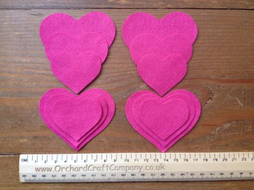 12 Self Adhesive Hearts in Quality Felt for Craft