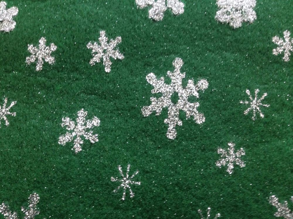 Green Snowflake Acrylic Craft Felt Sheet