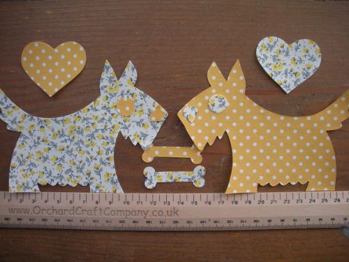 2 Large Fabric Iron On Scottie/Westie DOGS , Scotty Dog Appliques.