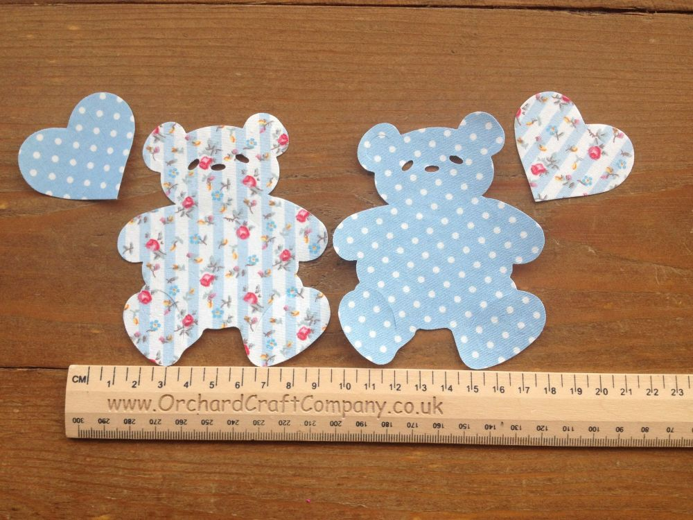 2 Fabric Iron On Teddy Bear Appliques with Hearts