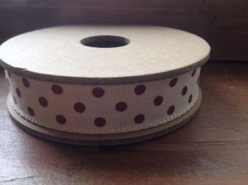 3 Metre East of India Ribbon. Cream With Red Dots