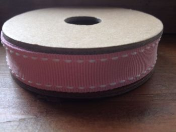 3 Metre East of India Ribbon. Pink With White Stitches