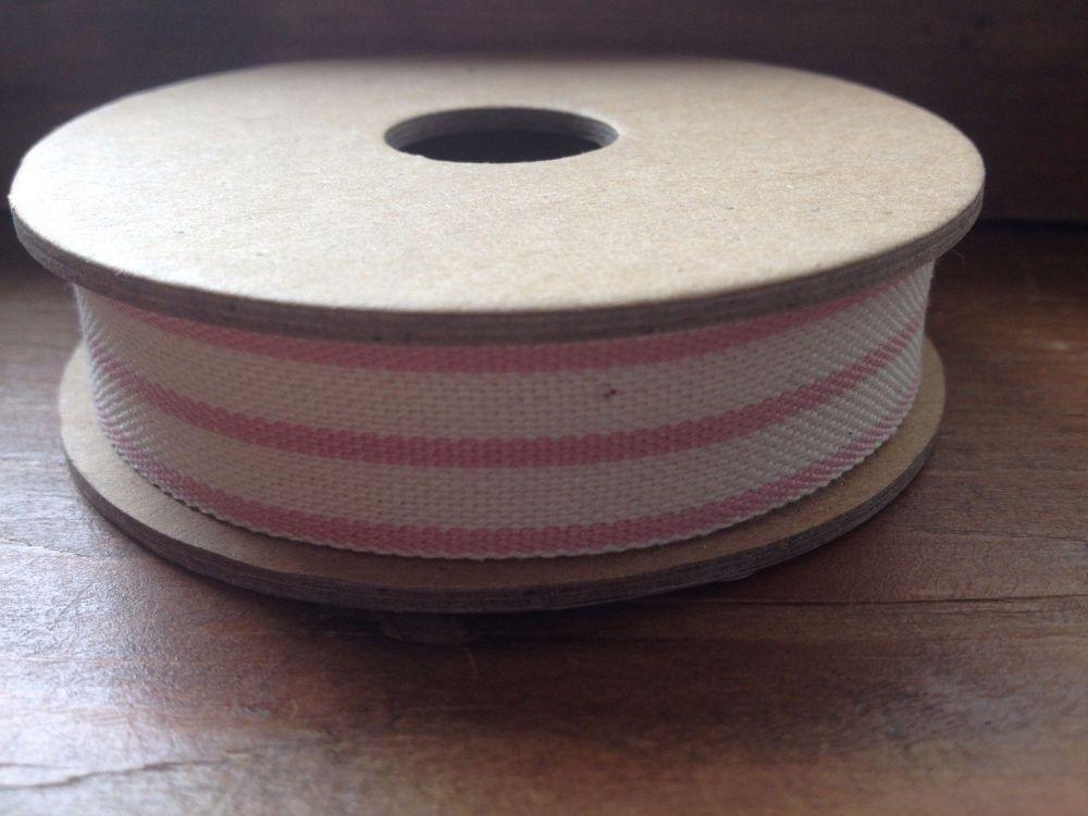 3 Metre East of India Ribbon. Stripe Pink/Cream