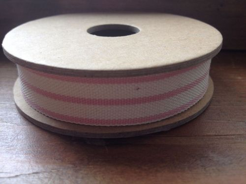 3 Metre East of India Ribbon. Stripe Pink/Cream