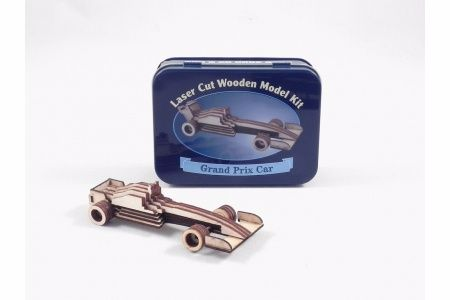 Grand Prix Car Laser Cut Wooden Model Kit, Gifts in a Tin