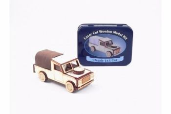 Classic 4x4 Car Laser Cut Wooden Model Kit, Gifts in a Tin