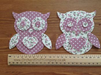 Iron on Fabric Owl Appliques x 2
