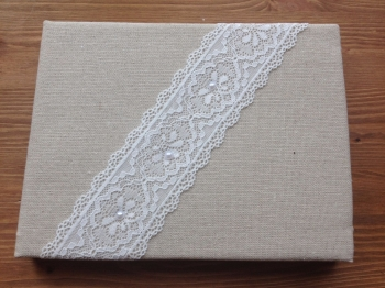 Personalised Wedding Guest Book, Hessian Backed With Lace Trim