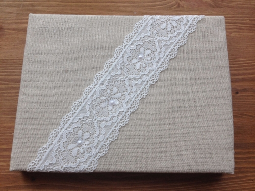 Hessian Wedding Guest Book with Lace
