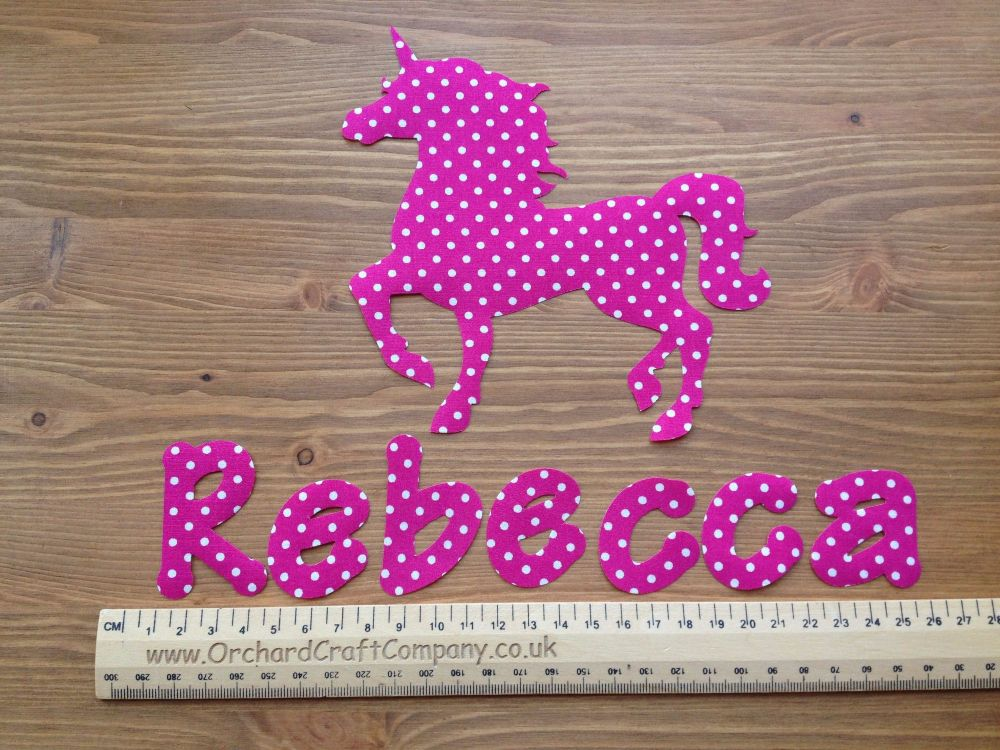 Unicorn Set. Iron On Fabric Applique, Personalised With Name