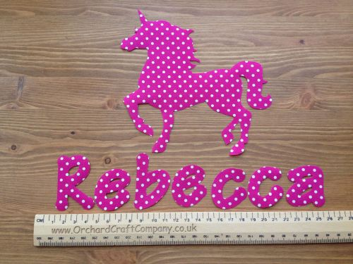 Unicorn Set. Iron On Fabric Applique, Personalised With Name