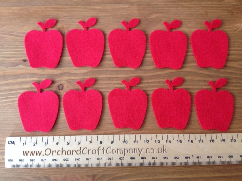 10 Apples in Quality Felt for Craft & Sewing in 25 Colours