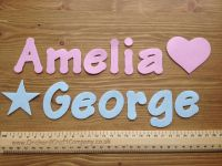 A set Of 7 Letters & Numbers Size 4-5 cm Plain Fabric