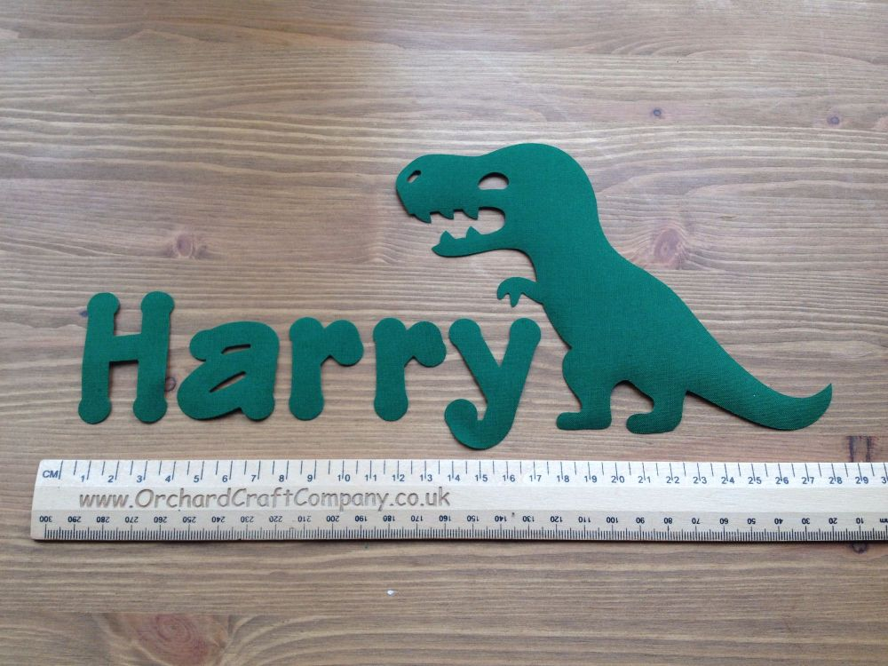 Iron on Dinosaur and name set (No Sew)