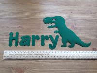 Fabric Iron on Dinosaur, T Rex  and name set (No Sew)