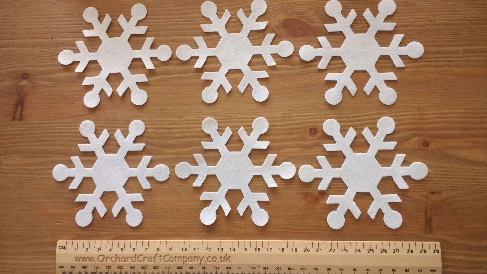 6 Large Self Adhesive Christmas Snowflakes - Quality UK Felt