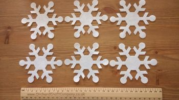 6 Large Self Adhesive Christmas Snowflakes - Quality UK Felt