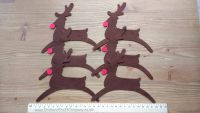 6 Large Self Adhesive Felt Christmas Rudolph Reindeer with Red Nose.