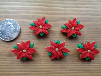 Dress It Up Buttons - Christmas Poinsettias
