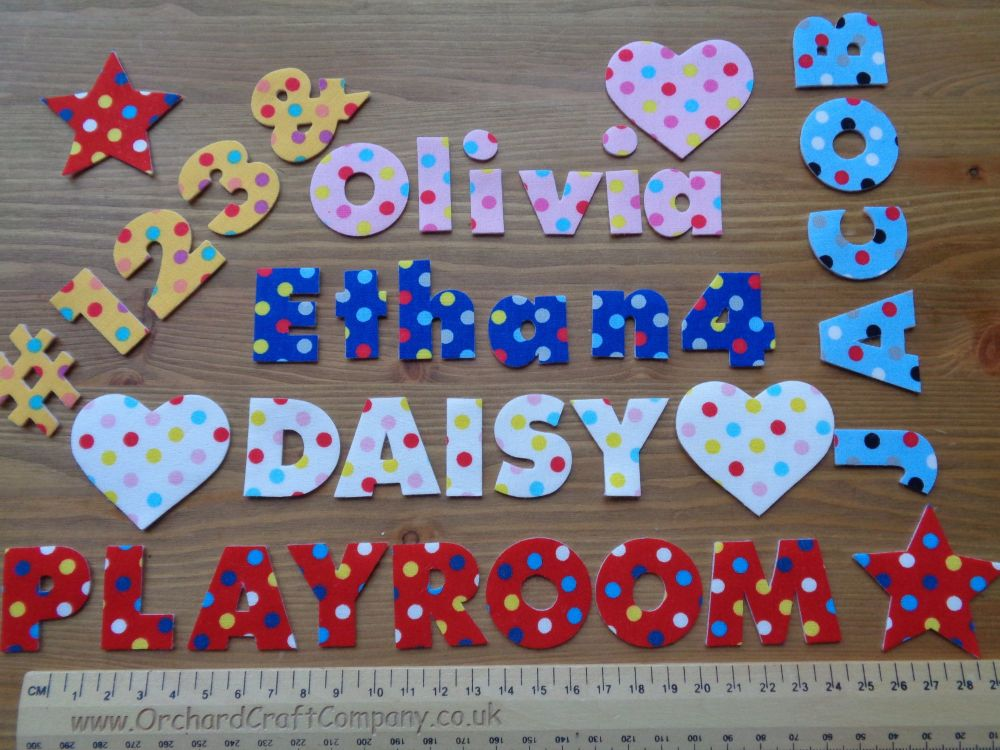 7 Iron On No Sew Fabric 3 cm Letters, Numbers.Dotty Chunky Font