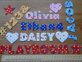 7 Iron On Fabric 3 cm Chunky Letters,Numbers,Dotty, Upper,Lowercase. (No Sew)