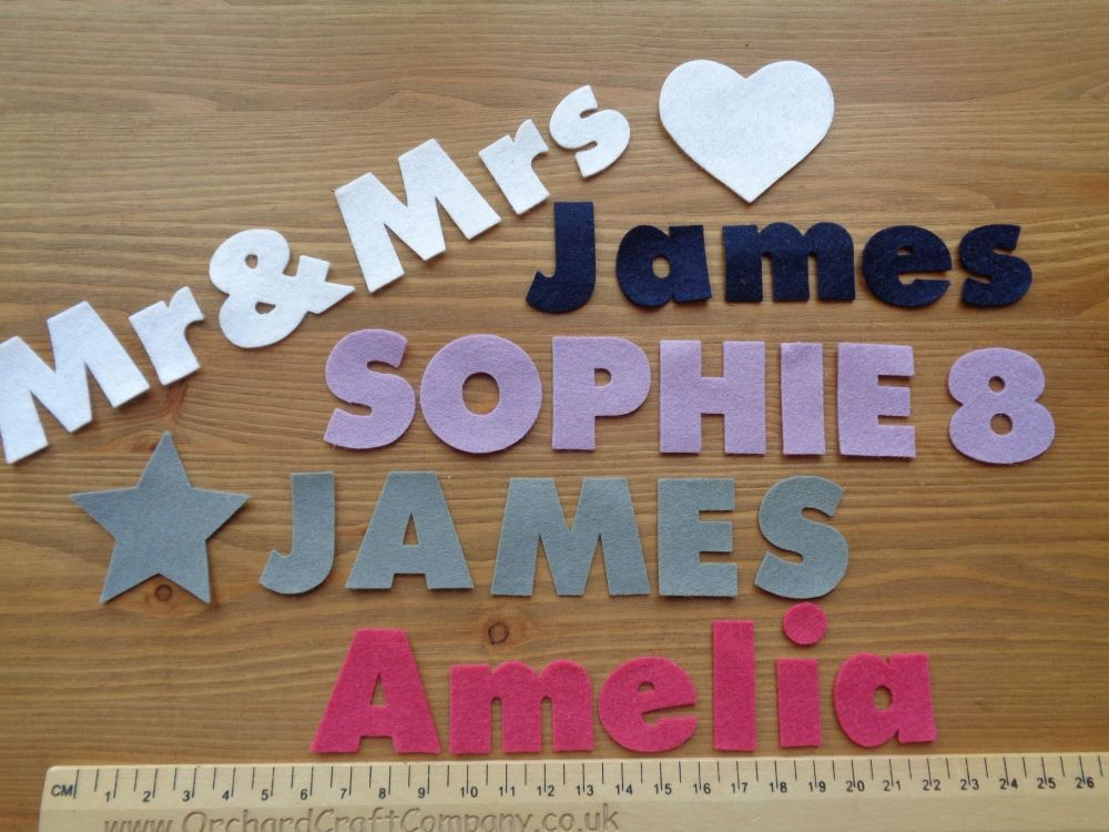 <!-- 003 -->3cm Chunky Font, Felt Letters & Numbers x 10. Upper and Lowerca