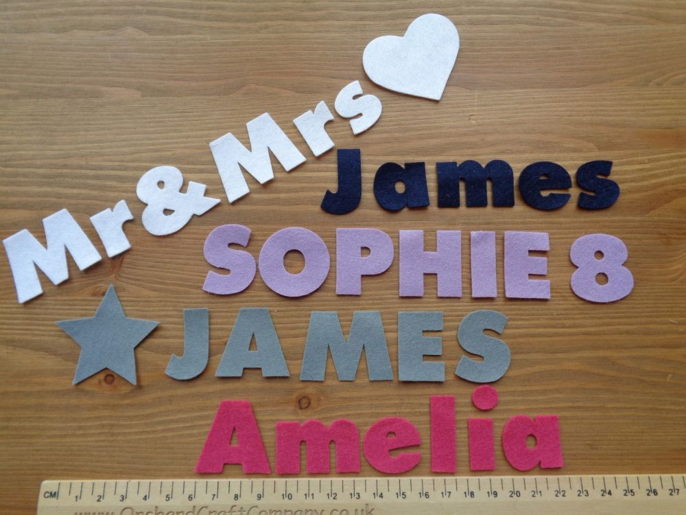 <!-- 003 -->3cm Chunky Font, Self Adhesive Felt Letters & Numbers x 10. Upp