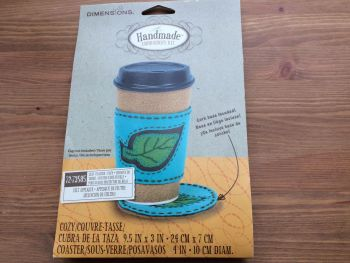 Needlecrafts Handmade Embroidery Leaf Coffee Cozy and Coaster kit