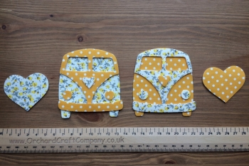 Fabric Iron On  Campervan Fronts, Dotty/Floral