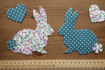 2 Fabric Iron On Bunny Appliques with Hearts, Floral/Dotty