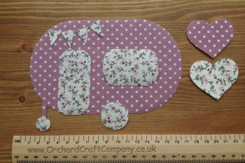 Iron On Fabric Pretty Caravan  Floral/Dotty with  Mini Bunting and Hearts