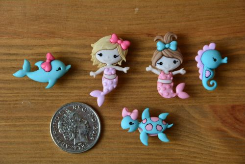 Dress It Up Buttons - Mermaid Kisses