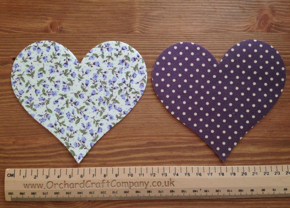 Set of 2 Floral/Dotty Fabric Iron On Fabric Hearts