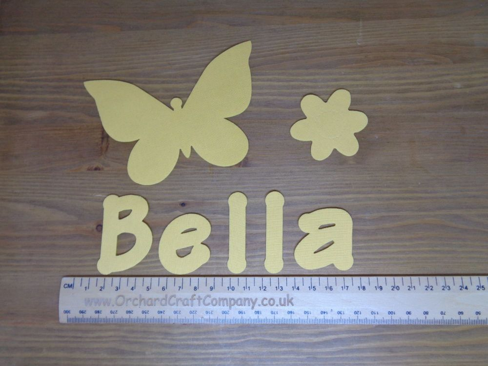 Butterfly Set. Iron On Fabric Applique, Personalised With Name. Plain Colou